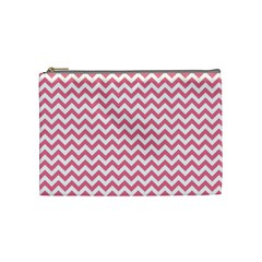 soft pink & White Zigzag Pattern Cosmetic Bag (Medium)