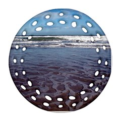 Ocean Surf Beach Waves Round Filigree Ornament (2Side)