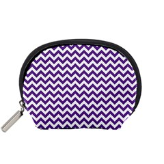Royal Purple & White Zigzag Pattern Accessory Pouch (Small)
