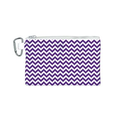 Royal Purple & White Zigzag Pattern Canvas Cosmetic Bag (Small)