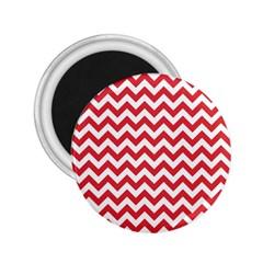 Poppy Red & White Zigzag Pattern 2 25  Magnet