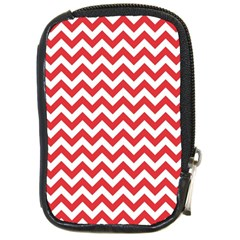 Poppy Red & White Zigzag Pattern Compact Camera Leather Case