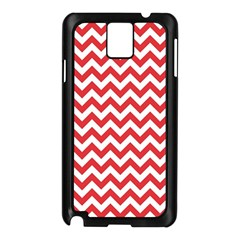 Poppy Red & White Zigzag Pattern Samsung Galaxy Note 3 N9005 Case (Black)
