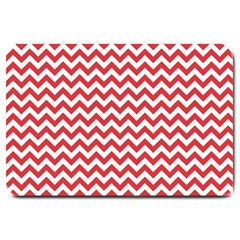 Poppy Red & White Zigzag Pattern Large Doormat
