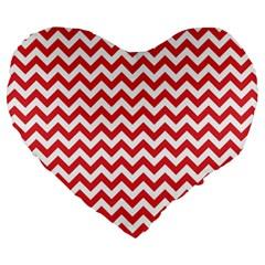 Poppy Red & White Zigzag Pattern Large 19  Premium Heart Shape Cushion