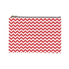 Poppy Red & White Zigzag Pattern Cosmetic Bag (large)