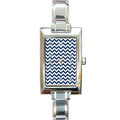 Navy Blue & White Zigzag Pattern Rectangle Italian Charm Watch