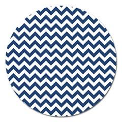 Navy Blue & White Zigzag Pattern Magnet 5  (Round)