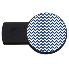Navy Blue & White Zigzag Pattern USB Flash Drive Round (1 GB)