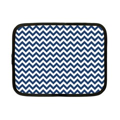 Navy Blue & White Zigzag Pattern Netbook Case (Small)
