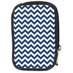 Navy Blue & White Zigzag Pattern Compact Camera Leather Case