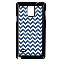 Navy Blue & White Zigzag Pattern Samsung Galaxy Note 4 Case (Black)