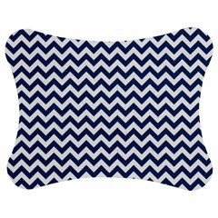 Navy Blue & White Zigzag Pattern Jigsaw Puzzle Photo Stand (bow)