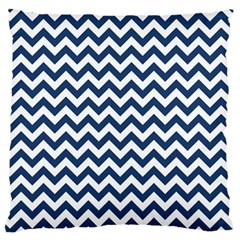 Navy Blue & White Zigzag Pattern Large Flano Cushion Case (One Side)
