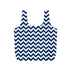 Navy Blue & White Zigzag Pattern Full Print Recycle Bag (S)
