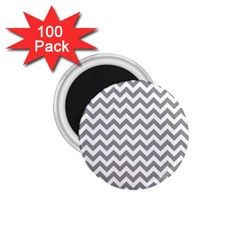 Medium Grey & White Zigzag Pattern 1.75  Magnet (100 pack)