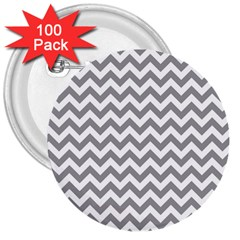 Medium Grey & White Zigzag Pattern 3  Button (100 pack)