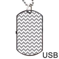 Medium Grey & White Zigzag Pattern Dog Tag USB Flash (Two Sides)