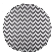 Medium Grey & White Zigzag Pattern Large 18  Premium Round Cushion