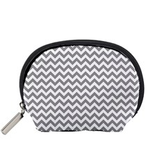 Medium Grey & White Zigzag Pattern Accessory Pouch (Small)