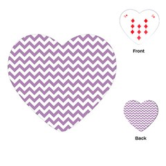 Lilac Purple & White Zigzag Pattern Playing Cards (Heart)