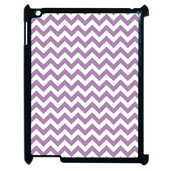 Lilac Purple & White Zigzag Pattern Apple iPad 2 Case (Black)