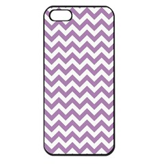 Lilac Purple & White Zigzag Pattern Apple iPhone 5 Seamless Case (Black)