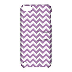 Lilac Purple & White Zigzag Pattern Apple iPod Touch 5 Hardshell Case with Stand