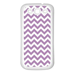 Lilac Purple & White Zigzag Pattern Samsung Galaxy S3 Back Case (White)