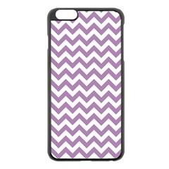 Lilac Purple & White Zigzag Pattern Apple iPhone 6 Plus/6S Plus Black Enamel Case