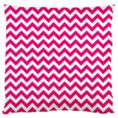 Hot Pink & White Zigzag Pattern Standard Flano Cushion Case (Two Sides)