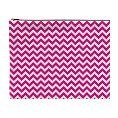 Hot Pink & White Zigzag Pattern Cosmetic Bag (XL)