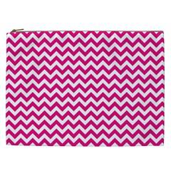 Hot Pink & White Zigzag Pattern Cosmetic Bag (XXL)