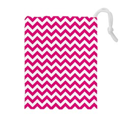 Hot Pink & White Zigzag Pattern Drawstring Pouch (xl)