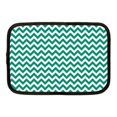 Emerald Green & White Zigzag Pattern Netbook Case (Medium)