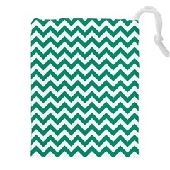 Emerald Green & White Zigzag Pattern Drawstring Pouch (XXL)