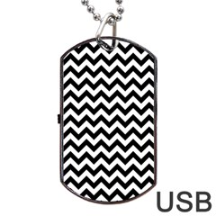 Black & White Zigzag Pattern Dog Tag USB Flash (One Side)