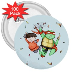 Mike & Tum Tum 3  Buttons (100 pack)