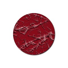 Thorny Abstract,red Rubber Round Coaster (4 pack)
