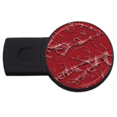 Thorny Abstract,red USB Flash Drive Round (1 GB)