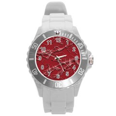Thorny Abstract,red Round Plastic Sport Watch (L)