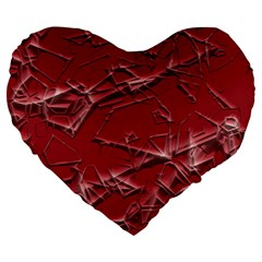 Thorny Abstract,red Large 19  Premium Heart Shape Cushions