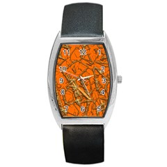Thorny Abstract, Orange Barrel Style Metal Watch
