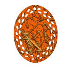 Thorny Abstract, Orange Oval Filigree Ornament (2-Side)