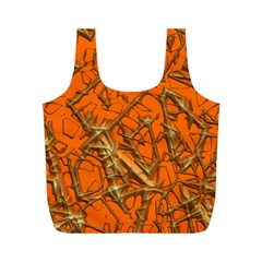 Thorny Abstract, Orange Full Print Recycle Bags (M)