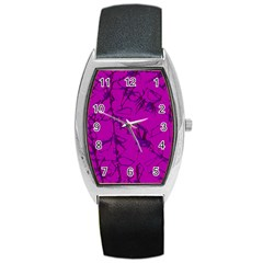 Thorny Abstract,hot Pink Barrel Style Metal Watch