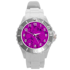 Thorny Abstract,hot Pink Round Plastic Sport Watch (L)