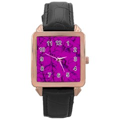 Thorny Abstract,hot Pink Rose Gold Leather Watch