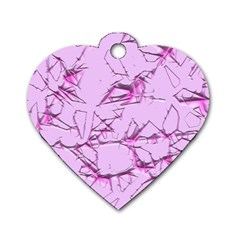 Thorny Abstract,soft Pink Dog Tag Heart (One Side)