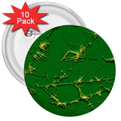 Thorny Abstract,green 3  Buttons (10 pack)